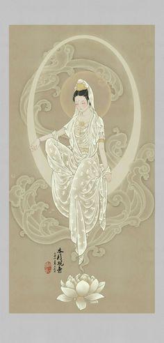 Kuan Yin - The Goddess of Mercy Japanese Painting, Chinese Painting, Chinese Art, Japanese Art, Art Asiatique, Buddha Art, Goddess Art, Guanyin, Indian Art