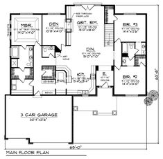 First Floor Plan of Traditional House Plan 73178