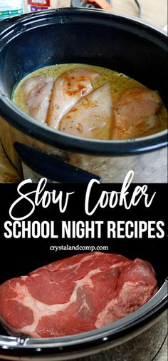 Slow Cooker School Night Dinner Ideas During the week, my Crockpot is my saving grace. It's a kitchen appliance I encourage all mama's to use. Here is a collection of some slow cooker scho Crock Pot Food, Crockpot Dishes, Crock Pot Slow Cooker, Pressure Cooker Recipes, Potatoes Crockpot, Best Crockpot Meals, One Pot Meals, Easy Meals, Freezer Meals