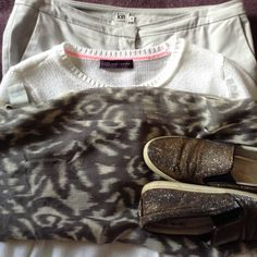 grey Kiin trousers, White M&S jersey, grey print scarf, R&B sparkle shoes Sparkle Shoes, Capsule Wardrobe, Trousers, Grey, Collection, Trouser Pants, Gray, Pants