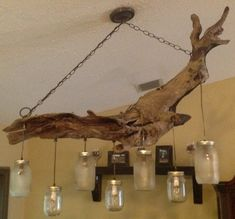 Mason Jar Chandelier with Bear, Alligator, Elk and Whitetail Deer scene on Frosted Mason Jars