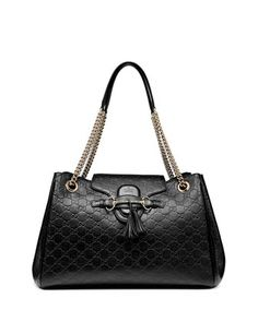 Emily Medium Guccissima Shoulder Bag, Black by Gucci at Neiman Marcus.
