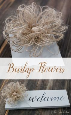 Learn to make these loopy burlap flowers from burlap ribbon. These loopy burlap flowers are the perfect rustic accent and easy to make! Burlap Projects, Burlap Crafts, Burlap Ribbon, Fabric Crafts, Diy Crafts, Craft Projects, Craft Ideas, Burlap Decorations, Burlap Wreaths