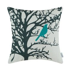 "Amazon.com - Euphoria Home Decorative Cushion Covers Pillows Shell Cotton Linen Blend Vintage Shadow Teal Bird Black Tree 18"" X 18"" -"