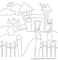 Haunted House coloring page for preschoolers - Enjoy Coloring