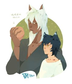 The wolf children Ame and Yuki.  Ame and his master(Personification).