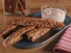 Cinnamon-Maple Oat Biscotti with Yogurt Dip recipe from Bobby Flay via Food Network