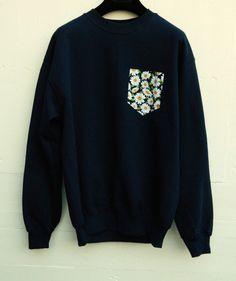 Men's Floral Daisy Pattern Dark Blue Sweat Shirt by HeartLabelTees