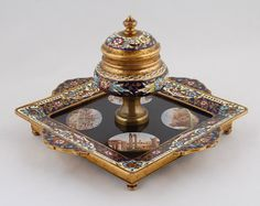 antique inkwells | Details about Antique Rare 19th Century FRENCH MICROMOSAIC & CHAMPLEVE ...