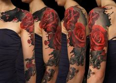 Red roses on black blur tattoo