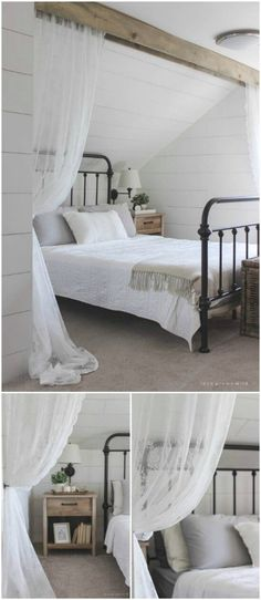 Wood Beam With Lace Curtains