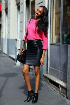 Картинки по запросу черная юбка, ярко розовая блузка