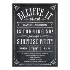 Surprise Birthday Invitations Believe it or Not Surprise Birthday Invitations