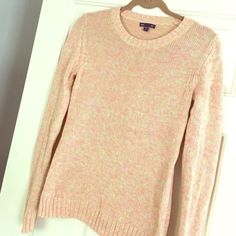 Gap: Knit Sweater (Pink & Yellow) Here's your summer sweater for those breezy summer nights! In great condition. GAP Sweaters Crew & Scoop Necks