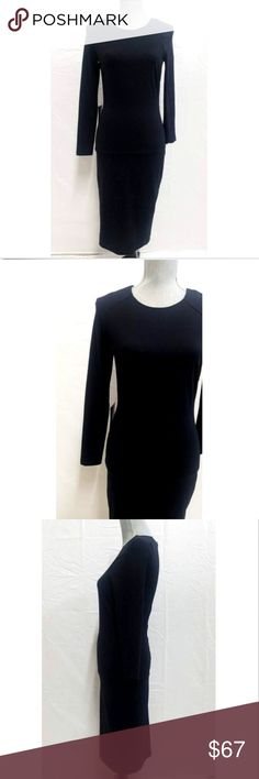 "Bebe Women's Solid Long Sleeve Body Con Midi Dress Bebe Women's Solid Long Sleeve Body Con Midi Dress Black S  NEW with Tags|   Jewel Neckline  Long Sleeves  88% Nylon 12% Spandex  Hand Wash in Cool Water  Measurements: (All measurements are taken with clothes laying on flat surface)  Underarm to Underarm: 15"" Stretched   Waist: 16"" measuring across the front   Hips: 13.50""  Shoulder to Shoulder: 14""  Length from top to bottom: Front 42""   We Ship Within 2 Days 