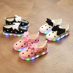 E Spring Autumn Girls shoes Led Colorful Light Shoes Bowknot Kids Sneakers  Children s 02b95ee43b7d