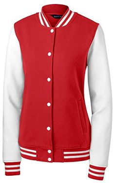 Sport Tek Womens Comfortable Fleece Letterman Jacket_Tr RedWhite_XXXXLarge *** Be sure to check out this awesome product.