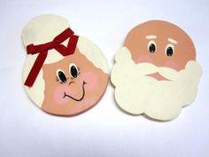 Vintage Folk Art Mr & Mrs Santa Claus by sweetie2sweetie on Etsy, $8.99