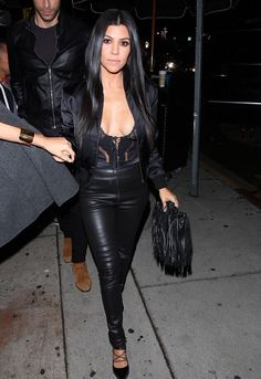 Kourtney Kardashian wearing Chanel Dallas Black Lambskin Leather Drawstring Fringe Bag, Saint Laurent Paris Lace-Up Pumps, Balenciaga Stretch Leather Leggings and Adam Lippes Silk Satin Bomber Jacket Estilo Kardashian, Looks Kim Kardashian, Kardashian Style, Kourtney Kardashian Body, Autumn Fashion Casual, Fall Fashion Outfits, Casual Fall, Look Fashion, Sexy Outfits