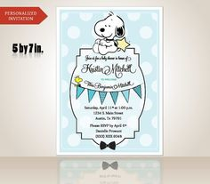 Baby Shower Snoopy Invitation Boy Custom Order By IntarsicaDesign