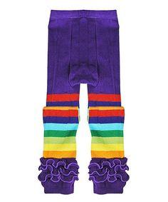 Another great find on #zulily! Purple Rainbow Ruffle Leggings - Toddler & Girls #zulilyfinds