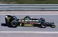 Mario Andretti drives the Martini Racing Team Lotus 80 Ford Cosworth DFV during the Spanish Grand Prix on 29 April 1979 at the Circuito del Jarama. Indy Car Racing, Dirt Track Racing, Indy Cars, Racing Team, Drag Racing, Spanish Grand Prix, Lotus F1, Mario Andretti, Martini Racing