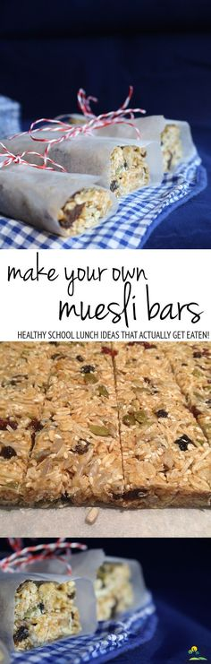 make your own muesli bars and ten things I know for sure. make your own muesli bars: a healthy lunch box treat that will actually get eaten! Lunch Box Recipes, Breakfast Recipes, Snack Recipes, Cooking Recipes, Healthy Recipes, Lunch Ideas, Breakfast Ideas, Healthy School Lunches, Good Healthy Snacks