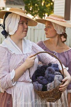 Girls with yarn at Colonial Williamsburg. Photo by Barbara Lombardi.