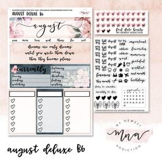 This gorgeous watercolor floral pattern is PERFECT for August. The foiling in this kit is in a beautiful rose gold. This kit is made specifically to fit Jesenia Printables MO4P Monthly Inserts.This kit comes with 1 sheet that measures approximately 4.5x7 inches. There are 2 smaller sheets included, one is foiled script