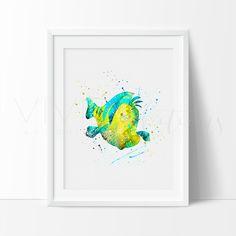 Little Mermaid Flounder the Fish Nautical Nursery Art Print Wall Decor
