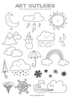 Set of Weather Illustrations - Art Outlines Full Page 20 Original Hand Drawn Outline Illustrations Doodle Drawings, Easy Drawings, Doodle Art, Doodle Frames, Sketch Note, Cursive Alphabet, Outline Illustration, Bulletins, Simple Doodles