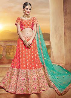 Graceful Orange Silk Designer Lehenga Choli - Luxefashion Internet Inc