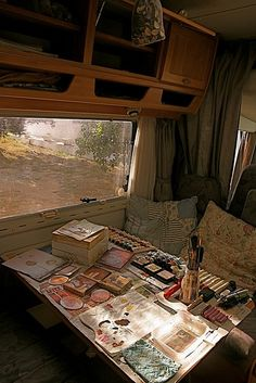 Studio in a mobile home Creative spaces   art studios   craft rooms   creative workspaces   happy place
