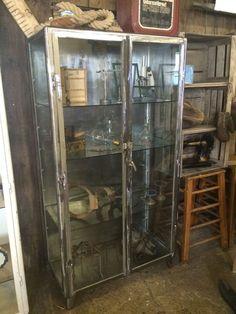 Vintage Medical Cabinet Glass Stripped Metal Antique Unit Haberdashery Shop Rare