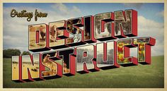 Retro Postcard with 3D Text