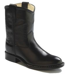 Old West Round Toe Boots: Black PVC Sole - SPECIAL ORDER - Small in the Saddle