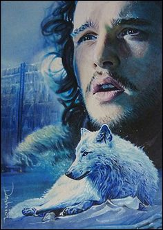 Jon Snow and Ghost by David Desbois, www.daviddeb.deviantart.com  watercolor pencil blended in marker, multiliner and opaque white  2.5*3.5 inch personal sketch card