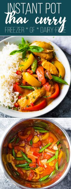 Spicy Instant Pot Thai Chicken Curry is made with creamy coconut milk and Thai red curry paste for a super flavorful (and spicy! Make it in the Instant Pot and dinner is ready in under 30 minutes! via Sweet Peas & Saffron Curry Recipes, Beef Recipes, Chicken Recipes, Thai Recipes, Rice Recipes, Easy Recipes, Soup Recipes, Korma, Instant Pot Pressure Cooker