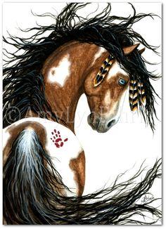 Blue Eyes Pinto Horse Art Print