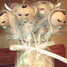 Baby boy cake pops for baby shower.