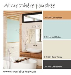 -La douceur du bleu pastel, des tonalités poudrées et du bois confèrent une touche chaleureuse à cette décoration plutôt neutre, découvrez nos teintes sur   www.chromaticstore.com #deco #pastel #salledebain