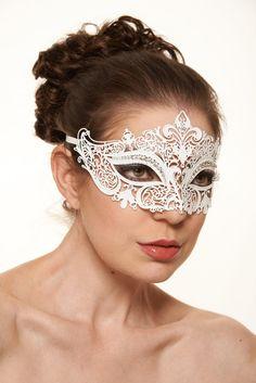 Luxury White Metal Masquerade Mask  Swarovski by ElegantxBoutique