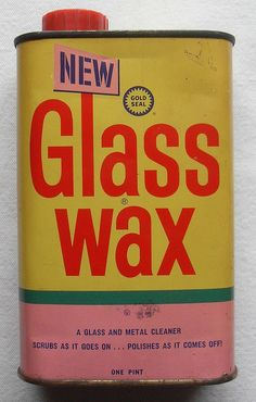 1966 GLASS WAX Gold Seal Company 1960s Vintage Can - you could use it to make pictures on the windows. We loved doing that at Christmas time.