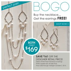 Selena White Pearl Necklace (70140000) only $169.00 and for one week only get the Selena White Pearl Drop Earrings(30251000)FREE! Http://donnaaquilino.jewelry.willowhouse.com