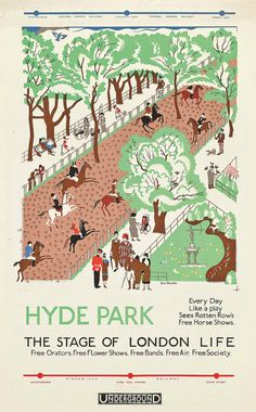 Edward #Bawden — Hyde Park (1925) #Lithograph. #HydePark (1925)  Lithograph. Poster for the Underground.