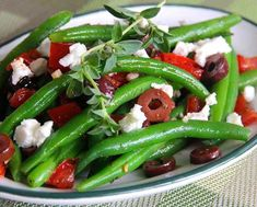 Rock the Mediterranean Diet - Marinated Green Beans with Olives, Tomatoes, and Feta