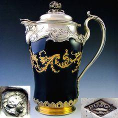 French Hallmarked Sterling Silver Chocolate Pot, Cobalt Blue & Raised Gold Enamel Porcelain.