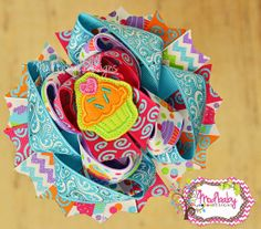 Birthday Girl Bright Cupcake Stacked Hair Bow, Girls hair bows, Hot pink Aqua and Lime bow, Orange and Purple, Chevron