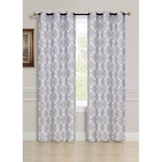 Dainty Home Avante Extra Long Grommet Window Curtain Panel Pair, Silver