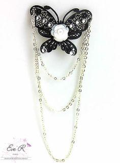 Bijoux de cheveux - Modèle Vaera - Broche pour cheveux Papillon, Rose en nacre blanche et Strass : Accessoires coiffure par eve-r-createur-bijoux-de-cheveux